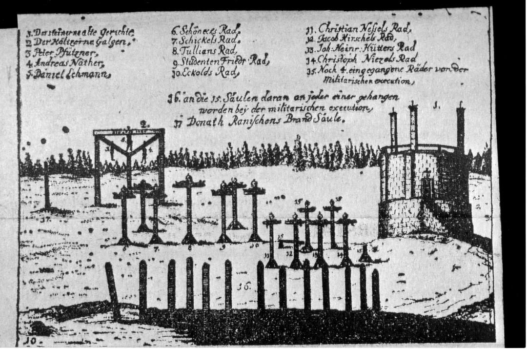 Richtstätte in Dresden. Quelle: Vortrags-Dia des Kantors Günter Schubert zur Glockenweihe 1993