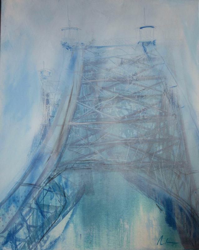 Michael Klose, Blaues Wunder, Mischtechnik a. Lw. Mit Rahmen, 100 x 80 cm Foto: DF